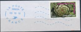 France - Légumes (Artichaut Gros Camus) YT A748 Obl. Ondulations Et Dateur Rond Bleu Sur Fragment - Francia