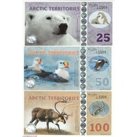 ARCTIC TERRITORIES 2017, Lot 25,50,100, 250, 500 Polar Dollars – Polymer, Neuf - Billets