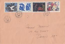 LETTRE COVER , SERIE DES TABLEAUX 1961, Yv 1319/1322, BRAQUE MATISSE CEZANNE FRESNAYE   /6000 - Storia Postale