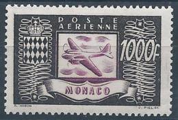 MONACO 1949 - Poste Aérienne YT N°44 - 1000 F. - Brun-noir Et Violet - Neuf* - TTB Etat - Poste Aérienne