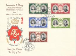 Monaco FDC 19-4-1956  Royal Wedding Grace & Rainier  With Cachet - FDC