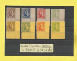 Vignettes Exposition Philatélique De DOUAI Le 07 01 1945 Vignettes Neuves Sans Charnières Pas Courantes Voir Scanner - Commemorative Labels