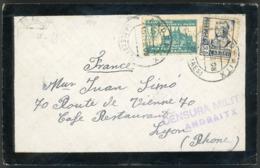 "1938 N° 585 (Y&T) + Civil War ""viñeta"" N° 91 / Military Censorship ""ANDRAITX"". See Description. - 1931-50 Storia Postale"