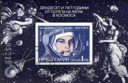 UdSSR 1.KOSMONAUTIN 1988 Bulgarien Block 179 O 2€ Porträt Tereschkowa S/s Blocs Woman Sheet Space Bf BULGARIA - Raumfahrt