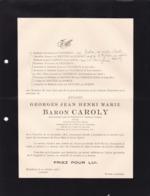 MORTSEL BOUCHOUT Georges Baron CAROLY Juge 1862-1935 Familles De VIGNERON De MENTEN De HORNE - Décès