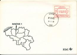 Belgium FDC Ninove 31-1-1983 Franking Label ATM Frama With Cachet - Vignettes D'affranchissement