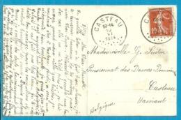 Franse Zegel (Semeuse)  Op Kaart Ontwaard Bij Aankomst Stempel CASTEAU - Belgium