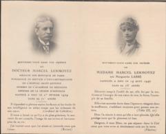 Carte D'annonce De Décès. Paris - Docteur LERMOYEZ, Hôpital St. Antoine Et De Son épouse Née Labbé..(avec Photo.) - Obituary Notices