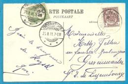82 Op Kaart Stempel HEYST-AAN-ZEE , Naar Luxembourg, Getaxeerd (taxe) 10c Met Stempel GREVENMACHER - 1893-1907 Coat Of Arms