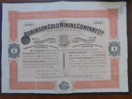 AFRIQUE DU SUD, LONDRES 1908 - THE ROBINSON GOLD MINING, ACTION DE 5 £ STERLING, PAS DE COUPONS - Azioni & Titoli