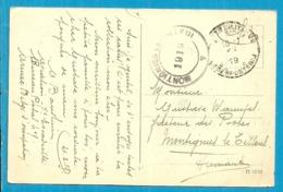 Kaart Stempel PMB Met Als Aankomst Dubbelringstempel MONTIGNIES-LE-TILLEUL Van 1919 (noodstempel) - Postmark Collection