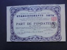 FRANCE, NEUILLY SUR SEINE 1923 - ETABLISSEMENTS SHYB - PART DE FONDATEUR - BELLE FRISE ART DECO - Actions & Titres