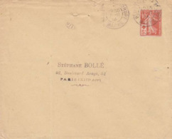♦FRANCE: LSC - SEMEUSE 10C. CROIX ROUGE - AU DOS CACHET PARIS DISTRIB. + COTE SEUL SUR LETTRE 16€ - 1877-1920: Période Semi Moderne
