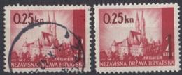 CROAZIA - 1942 - Lotto Di 2 Valori Yvert 58: Uno Nuovo MNH E Uno Usato. - Croacia