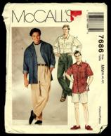 Vintage McCall`s Schnittmuster 7686  -  Herren Lang Oder Kurzarm Shirt, Hose & Shorts  -  Größe 38-42 - He