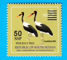 SOUTH SUDAN Unadopted Proof Overprint Stamp On 5 SSP Birds Shoe-billed Stork Südsudan Soudan Du Sud - Sudán Del Sur
