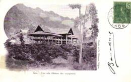 Laos Une Sala ( Maison Des Voyageurs)  + Beau Timbre 5c Indochine RV - Laos