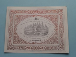 1858 > Société Des Régates > A. GOUDALIER : Lith. ? (Porcelein / Porcelaine ) Formaat +/- 15 X 11,5 Cm - Estampes & Gravures