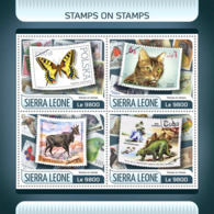 Sierra  Leone 2017 Stamps On Stamps  Butterfly  Cat   Dinosaur - Sierra Leone (1961-...)