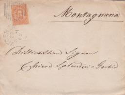 BUSTA VIAGGIATA -  REGNO - VICENZA - VIAGGIATA PER MONTAGNANA ( PADOVA) - 1878-00 Umberto I
