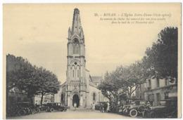 Royan L' Eglise Notre Dame Voitures Le Sommet Du Clocher Fut Renversé Par Une Forte Tempète Dans La Nuit Du 11/11/1916 - Royan