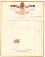 Factuur Facture - Koffiebranderij A & W. Van De Kerckhove - Avelgem 1952 - Alimentaire
