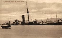 Lebanon Beirut AUNULLAH SUNK IN BEIRUT PORT As Result Of Italian Shell Fire 1912 ITALIAN MARINE - Guerra