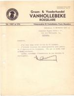 Factuur Facture - Brief Lettre -  Graan & Voederhandel Vanhollebeke - Roeselare 1936 - Alimentaire