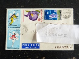 LETTRE ROUMANIE ROMANIA ROMANA AVEC YT 2652 2654 2615 2734 2614 2752 - 2614 DECHIRE A L'OUVERTURE - Cartas
