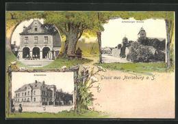 Passepartout-AK Merseburg A. S., Hauptwache, Altersheim, Altenburger Kirche - Merseburg