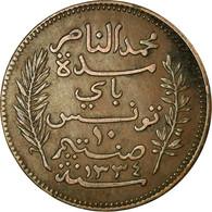 Monnaie, Tunisie, Muhammad Al-Nasir Bey, 10 Centimes, 1916, Paris, TTB, Bronze - Tunesië