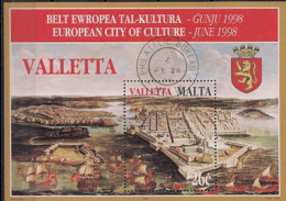1998 Malta   Mi. Bl. 16  Used   Europäischer Kulturmonat Valetta - Europäischer Gedanke