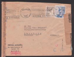 """Madrid Espana KWO Zensur Censsura Prenso Alemana Nach Nürnberg An Verlag """"Die Stürmer"""" 1939 - 1931-50 Cartas"""