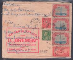 """USA 1925 Letter New York To Zurich Switzerland With Katalpultflug Vom D. """"BREMEN"""" Norddeutscher Lioyd 2.8.1929 - Etats-Unis"""