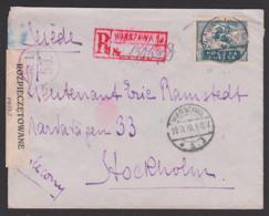 Polska POLEN Recomande-Brief 29.11.1920 Nach Schweden Stockholm Aus Warschau Warszawa Mit ROZPIECZETOWANE - 1919-1939 République