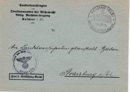 Env Frei Durch Ablôsung Reich Obl OMEC MÜLHAUSEN (ELS) 2 Du 26.2.43 BOLLWERK / DEUTSCHEN / FLEISSES Pour Strassburg - Marcophilie (Lettres)