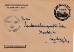 Env Frei Durch Ablôsung Reich Obl MÜLHAUSEN (ELS) 2 Du 2.10.43 BOLLWERK DEUTSCHEN FLEISSESDEUTSCHER ARBEITER - Marcophilie (Lettres)