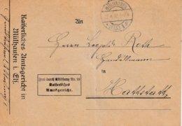 Env Frei Durch Ablôsung Nr 19 / Kaiserliches / Amtsgericht Obl MÜLHAUSEN / * (ELS) 1 G Du 27.4.12 Adressée à Hattstatt - Postmark Collection (Covers)