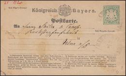 Bayern Postkarte 2 Kreuzer BABENHAUSEN 21.8. Nach NEU-ULM 22.8. - Bayern (Baviera)