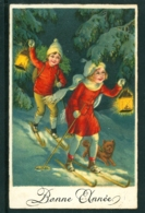 20437 Couple D'enfants Skiant à La Lumière De Lanternes Avec Petit Chien Dans La Neige - Anno Nuovo
