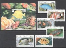 B667 1997 REPUBLIQUE DE GUINEE FISH & MARINE LIFE POISSONS 1BL+1SET MNH - Meereswelt