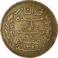 Monnaie, Tunisie, Muhammad Al-Nasir Bey, 10 Centimes, 1911, Paris, TTB, Bronze - Tunisia