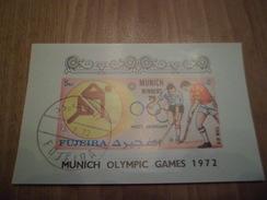 Bloc Non Dentelé Fujeira Vainqueurs  J.O. De Munich Avec Cachet 1er Jour 15 Juillet 1972  Hockey Sur Gazon      TB - Sommer 1972: München