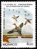 T.-P. Gommé Neuf** - Symposium Mondial Sur La Migration Des Oiseaux Sarcelle D'été - N° 1756 (Yvert) - Monaco 1991 - Monaco