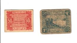 Marocco Morocco Maroc EMPIRE CHERIFIEN 1 Francs 1944 + 50 Centimes  LOTTO 2196 - Marocco