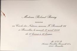 Invitation Au Cercle Des Nations à Bruxelles. - Documents Historiques