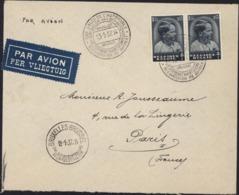 YT 445 (V Couleur Bleu Marqué Lilas Rose) CAD 28ème Salon De L'automobile 8e Exposition Du Bâtiment 13 1 1937 Par Avion - Postmark Collection