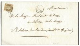 N°1 CERES 10c BISTRE SUR GRANDE LETTRE SANS CORRESPONDANCE / GRILLE/  FOUGERES POUR ST HILAIRE DES LANDES / 1851 - 1849-1876: Période Classique