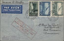 1er Départ Service Aérien Régulier Belgique Congo Sabena 23 2 1935 Par Avion YT Pa 1 + 3 + YT 386 Bruxelles 23 II 35 - Storia Postale
