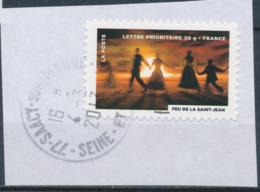 France - Fête Du Timbre 2012 - Le Feu (Feu De La St-Jean) YT A756 Obl. Cachet Rond Manuel Sur Fragment - Adhésifs (autocollants)